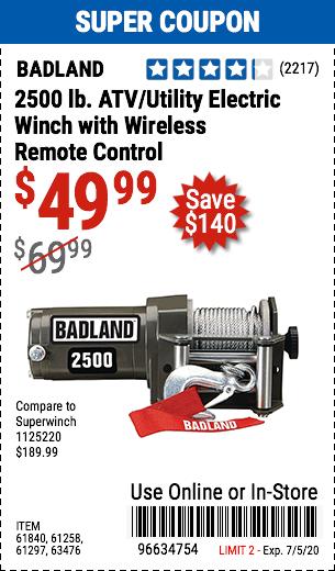 2500 lb. ATV/Utility Electric Winch with Wireless Remote Control