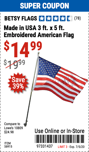 Made in USA 3 ft. x 5 ft. Embroidered American Flag