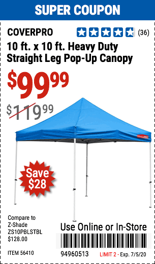 10 ft. x 10 ft.  Heavy Duty Straight Leg Pop-Up Canopy