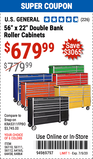56 in. Double Bank Black Roller Cabinet