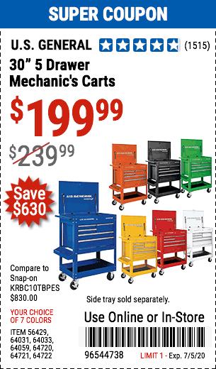 30 in. 5 Drawer Yellow Mechanic's Cart