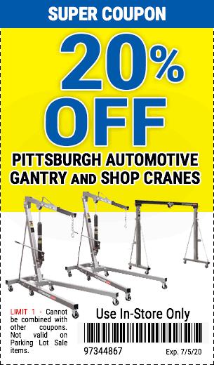 20% off Gantry/Shop Cranes