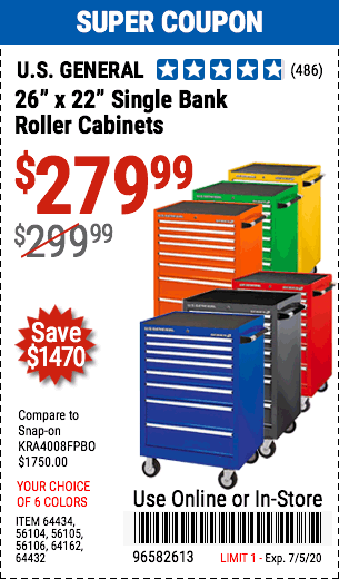 26 in. x 22 In. Single Bank Red Roller Cabinet