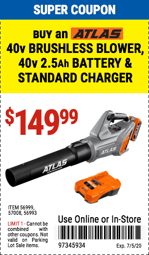 Atlas buy 40v Blower  Battery & Charger for 149.99