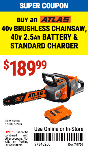Atlas buy 40v Chainsaw  Battery & Charger
