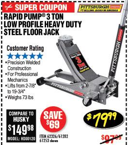 3 ton Low Profile Steel Heavy Duty Floor Jack with Rapid Pump