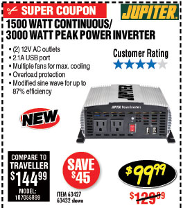 1500 Watt Continuous/3000 Watt Peak Power Inverter
