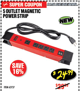5 Outlet Heavy Duty Magnetic Power Strip with Metal Housing