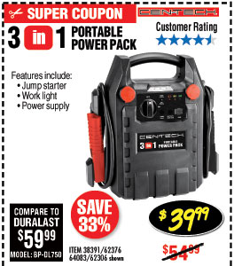 3-in-1 Portable Power Pack with Jump Starter