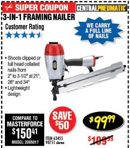 3-in-1 Framing Air Nailer