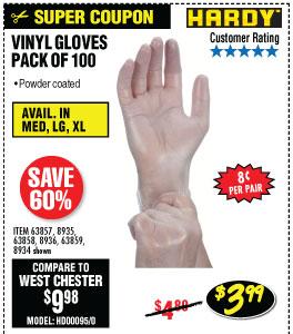 Vinyl Gloves 100 Pc