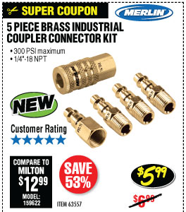 5 Pc Brass Industrial Coupler Connector Kit