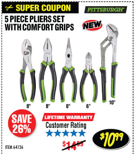 5 Pc Pliers Set with Comfort Grips