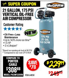 21 gallon 1.5 HP 175 PSI Oil-Free Vertical Air Compressor
