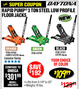 3 ton Steel Heavy Duty Low Profile Floor Jack with Rapid Pump®