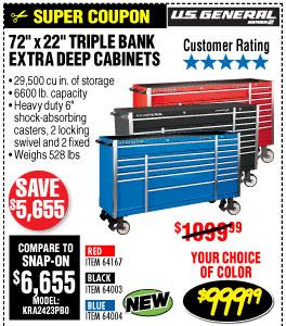 72 in. x 22 In. Triple Bank Roller Cabinet - Black