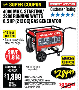 4000 Max Starting/3200 Running Watts, 5.4 HP  (212cc) Generator CARB  with GFCI Outlet Protection