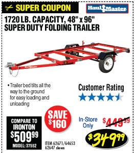 1720 lbs. Capacity 48 in.  x 96 in. Super Duty Folding Trailer