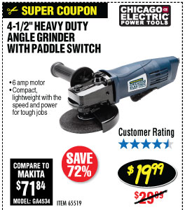 4-1/2 in. 6 Amp Heavy Duty Paddle Switch Angle Grinder