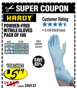 5 mil Nitrile Powder-Free Gloves 100 Pc