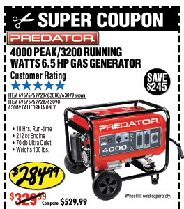 4000 Peak/3200 Running Watts, 6.5 HP  (212cc) Generator EPA III with GFCI Outlet Protection
