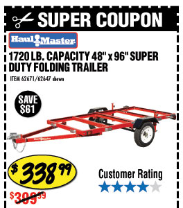 1720 lb. Capacity 48 in.  x 96 in. Super Duty Folding Trailer