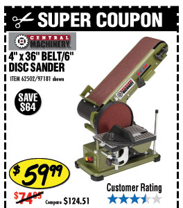 4 in. x 36 in. Belt/6 in. Disc Sander
