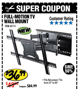 37 in. to 80 in. Full-Motion TV Wall Mount