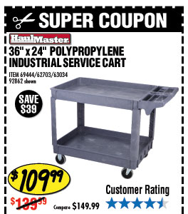36 In. x 24 In.  Polypropylene Industrial Service Cart