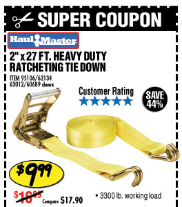 3300 lb. Capacity 2 in. x 27 ft. Heavy Duty Ratcheting Tie Down 1 Pc