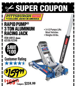 3 Ton Aluminum Racing Floor Jack with RapidPump
