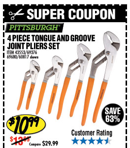 4 Pc Tongue and Groove Joint Pliers Set