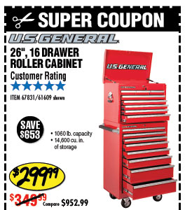26 in., 16 Drawer Glossy Red Roller Cabinet Comb