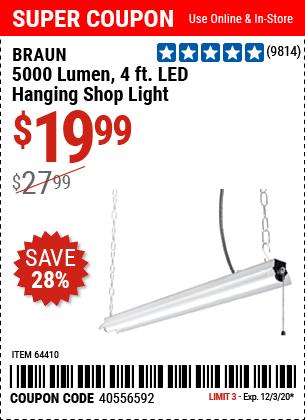 5000 Lumen 4 Ft. LED Hanging Shop Light