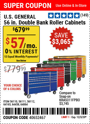 56 in. Double Bank Blue Roller Cabinet