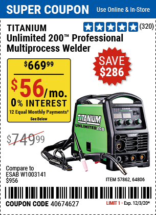 Unlimited 200™ Professional Multiprocess Welder with 120/240 Volt Input