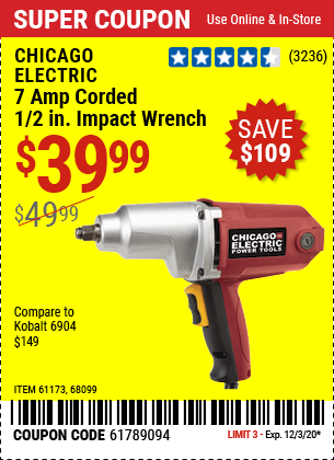7 Amp Corded 1/2 in. Impact Wrench