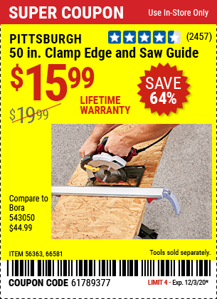 50 In. Clamp Edge and Saw Guide