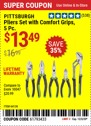 Pliers Set with Comfort Grips, 5 Pc.