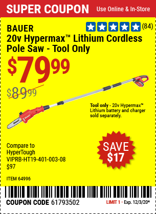 20V Hypermax™ Lithium Cordless Pole Saw - Tool Only