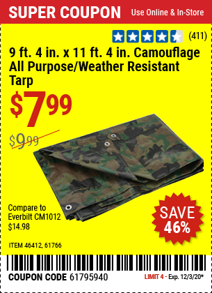 9 ft. 4 in. x 11 ft. 4 in. Camouflage All Purpose/Weather Resistant Tarp
