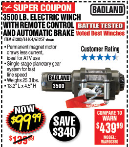 3500 lb. ATV/Utility Electric Winch with Automatic Load-Holding Brake