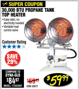 30,000 BTU Tank Top Propane Heater
