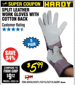 RSplit Leather Work Gloves with Cotton Back 5 Pr.