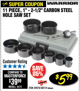 1 In - 2-1/2 In Carbon Steel Hole Saw Set 11 Pc