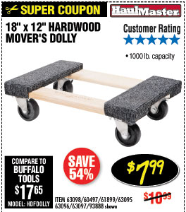 18 In. x 12 In. 1000 lbs. Capacity Hardwood Dolly