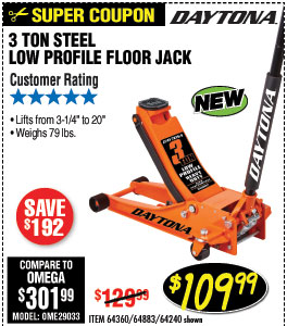 3 ton Steel Heavy Duty Low Profile Floor Jack with Rapid Pump® -  Orange