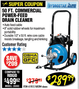 S50 ft. Commercial Power-Feed Drain Cleaner with GFCI