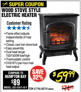750/1500 Watt Wood Stove Style Electric Heater