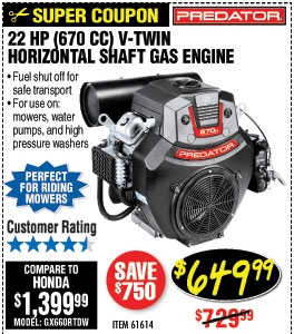 22 HP (670cc) V-Twin Horizontal Shaft Gas Engine EPA